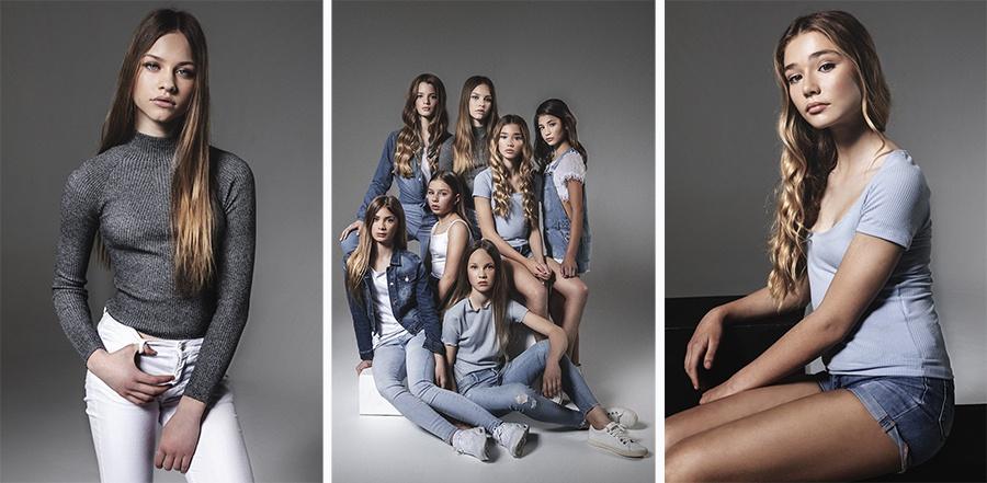 Sesión de fotos en estudio de moda para niños