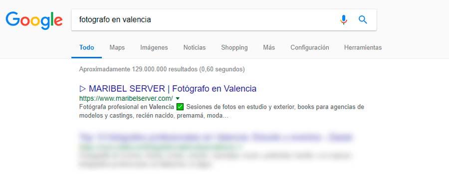 """Primera posición en """"fotografo en Valencia"""""""